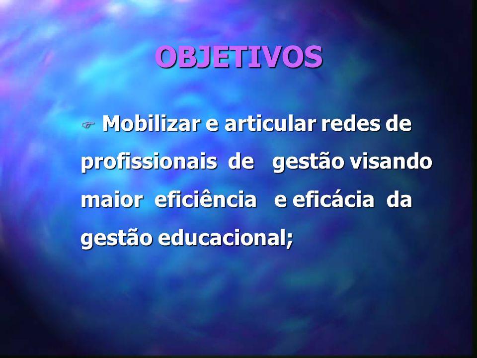 OBJETIVOS F Mobilizar e articular redes de profissionais de gestão visando maior eficiência e eficácia da gestão educacional;