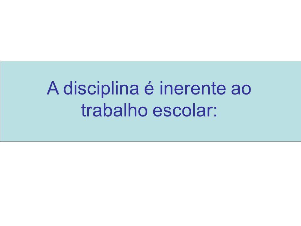 a) Fim educativo: a disciplina escolar é uma forma de ensinar o aluno a viver num mundo social pautado por regras.
