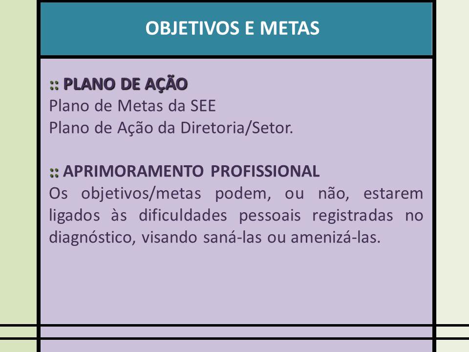 OBJETIVOS E METAS :: PLANO DE AÇÃO Plano de Metas da SEE Plano de Ação da Diretoria/Setor.