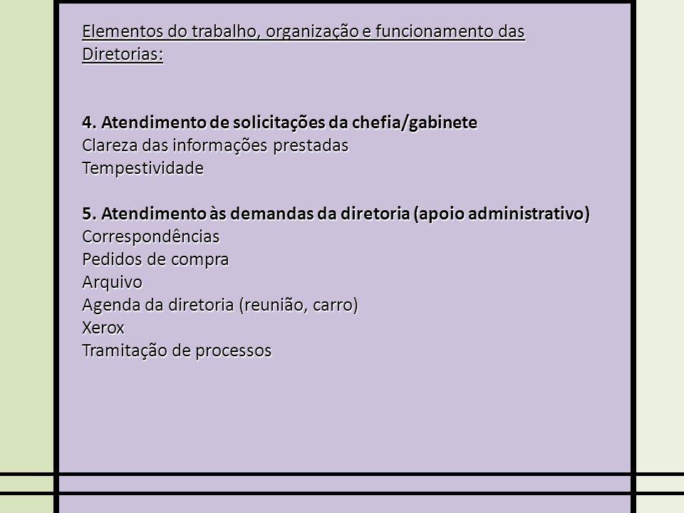 Elementos do trabalho, organização e funcionamento das Diretorias: 4.