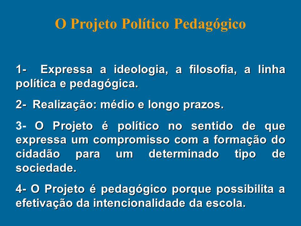 1- Expressa a ideologia, a filosofia, a linha política e pedagógica. 2- Realização: médio e longo prazos. O Projeto é político no sentido de que expre