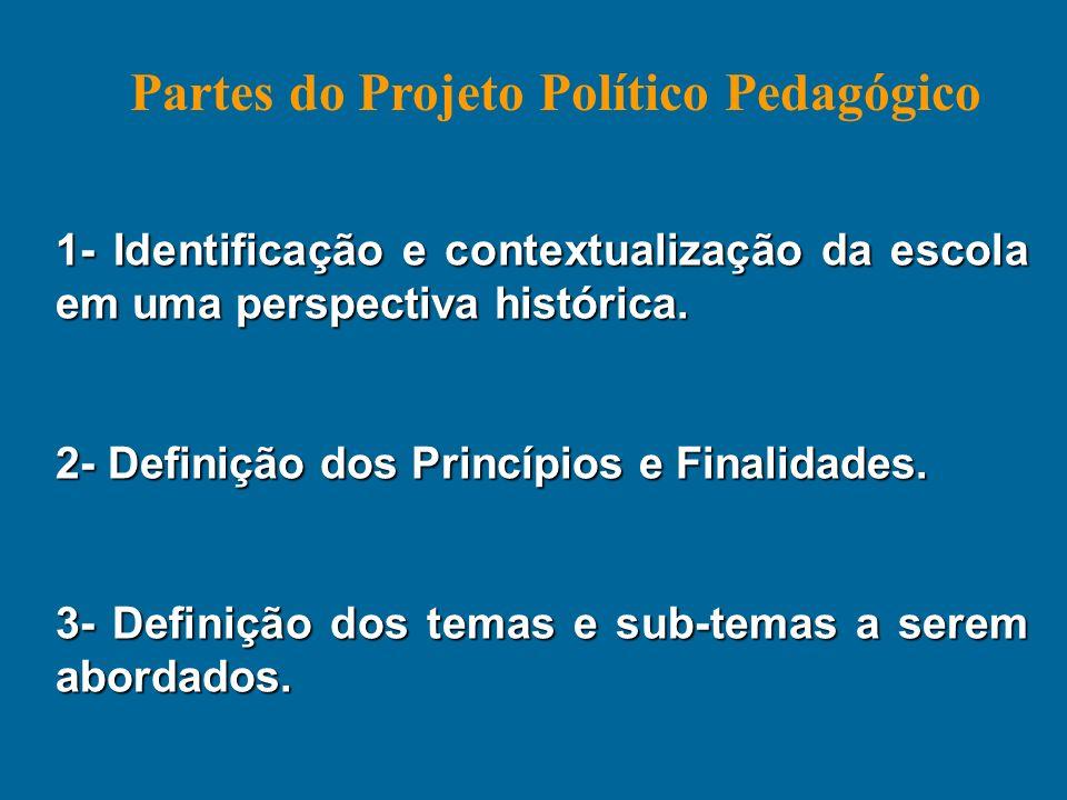 1- Identificação e contextualização da escola em uma perspectiva histórica. 2- Definição dos Princípios e Finalidades. 3- Definição dos temas e sub-te