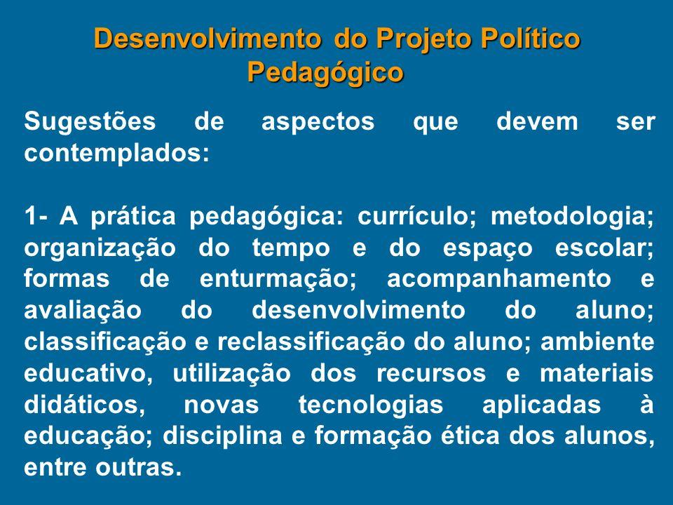 Sugestões de aspectos que devem ser contemplados: 1- A prática pedagógica: currículo; metodologia; organização do tempo e do espaço escolar; formas de