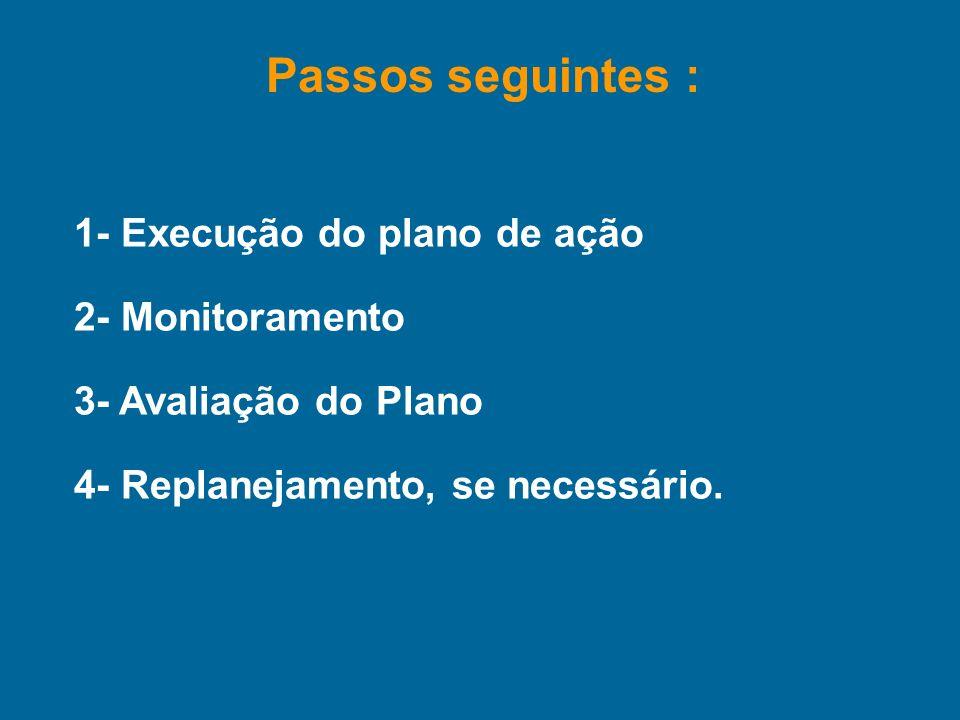 1- Execução do plano de ação 2- Monitoramento 3- Avaliação do Plano 4- Replanejamento, se necessário. Passos seguintes :
