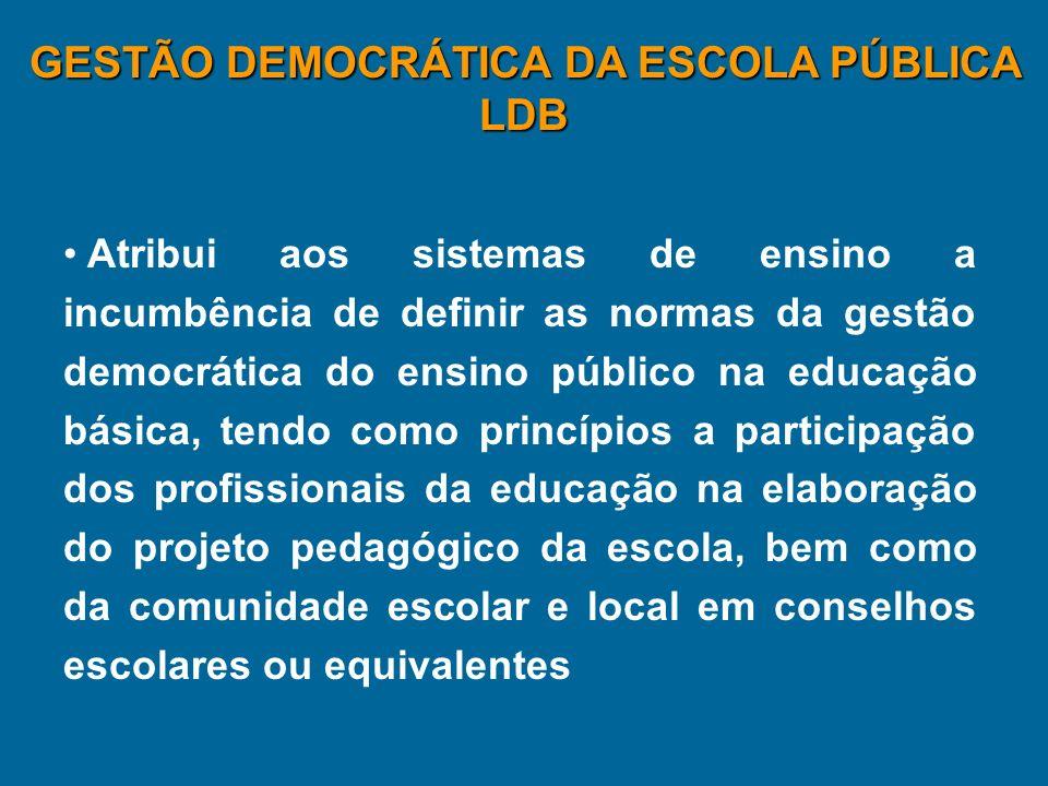 Atribui aos sistemas de ensino a incumbência de definir as normas da gestão democrática do ensino público na educação básica, tendo como princípios a