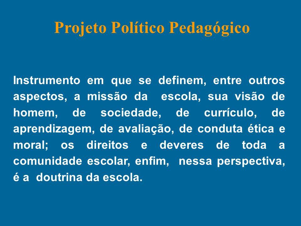 Instrumento em que se definem, entre outros aspectos, a missão da escola, sua visão de homem, de sociedade, de currículo, de aprendizagem, de avaliaçã
