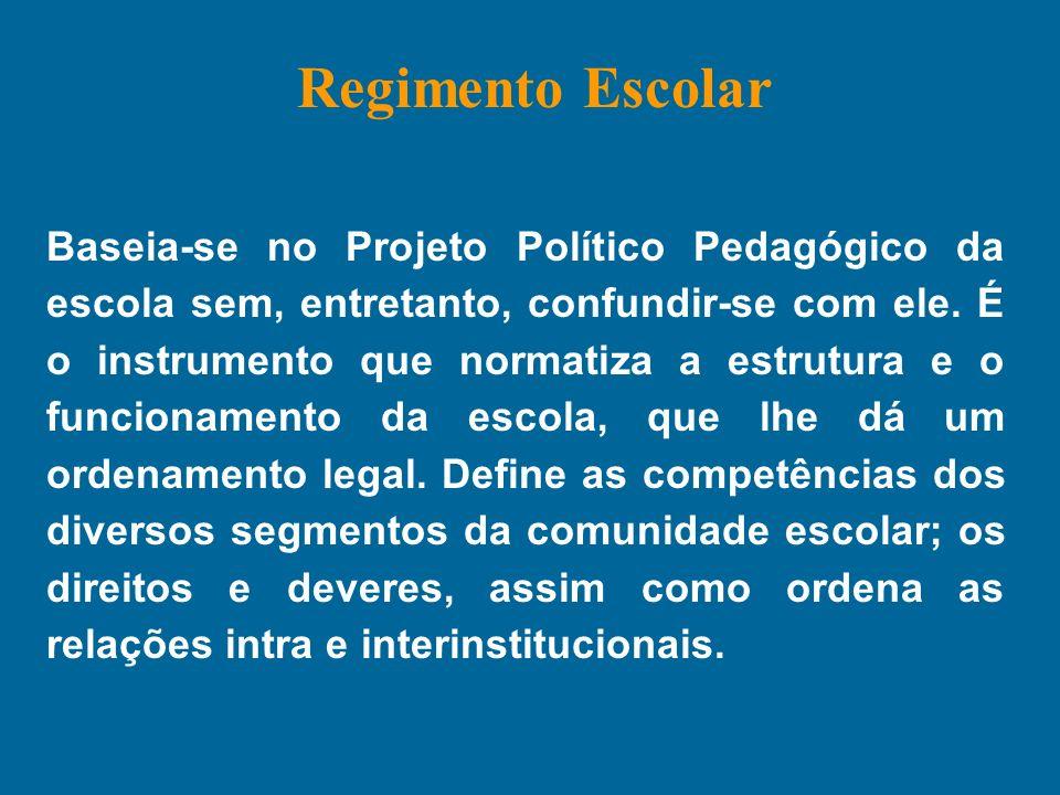 Baseia-se no Projeto Político Pedagógico da escola sem, entretanto, confundir-se com ele. É o instrumento que normatiza a estrutura e o funcionamento