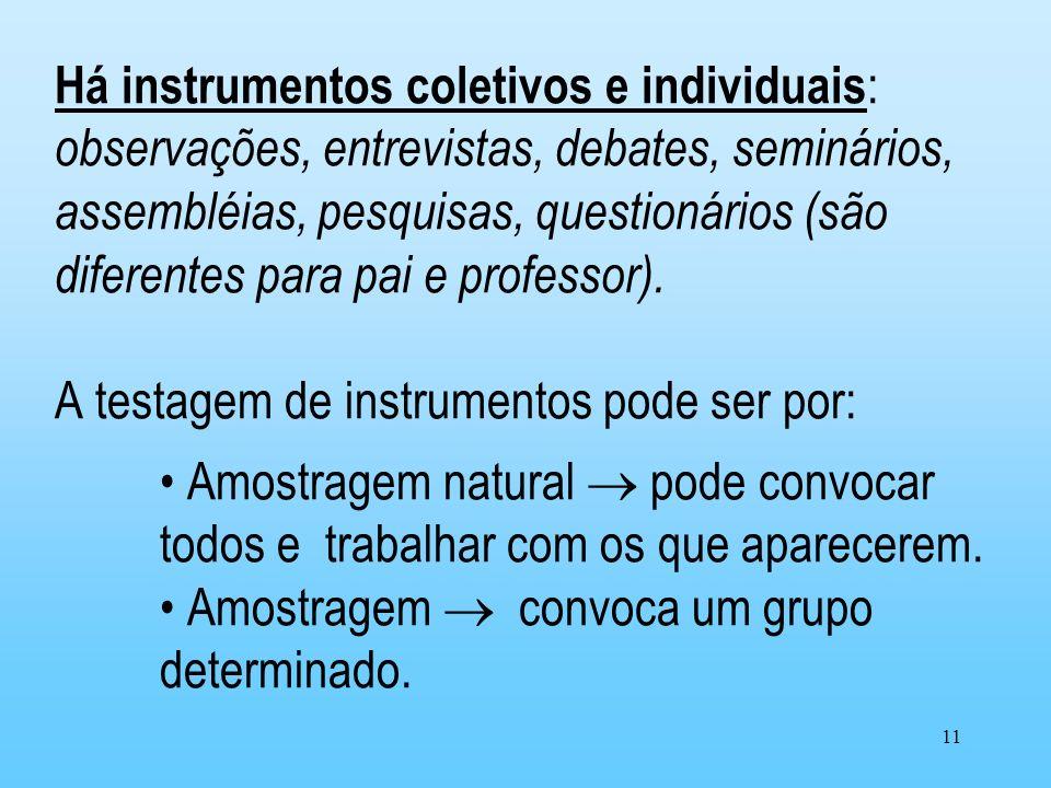 11 Há instrumentos coletivos e individuais : observações, entrevistas, debates, seminários, assembléias, pesquisas, questionários (são diferentes para
