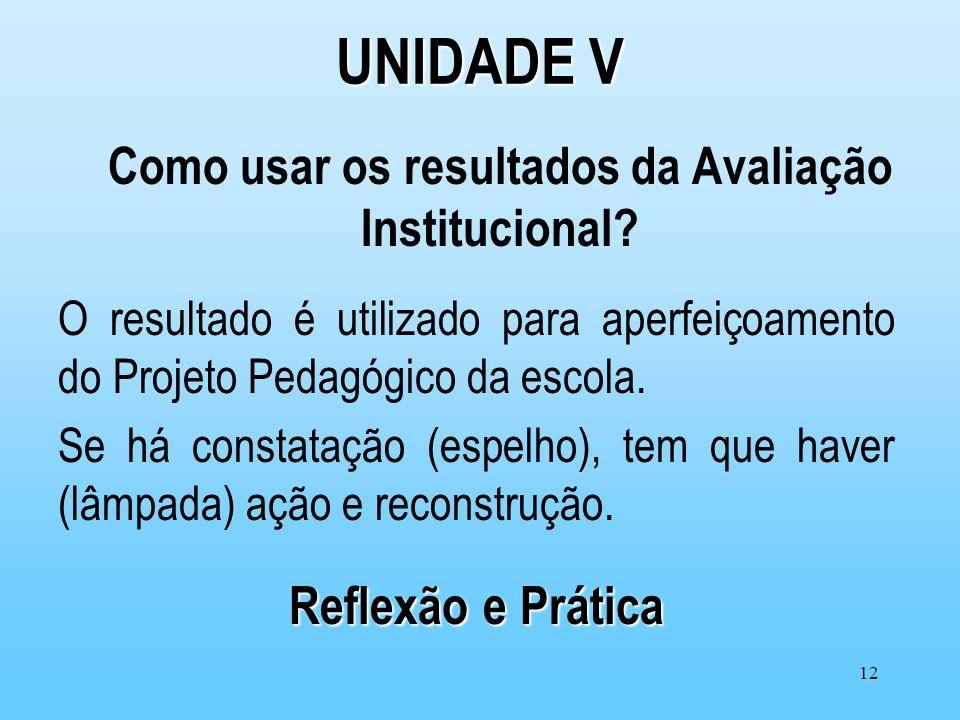 12 UNIDADE V Como usar os resultados da Avaliação Institucional? O resultado é utilizado para aperfeiçoamento do Projeto Pedagógico da escola. Se há c