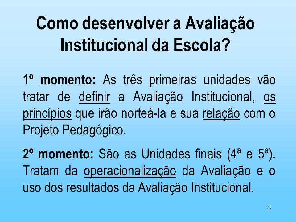 2 Como desenvolver a Avaliação Institucional da Escola? 1º momento: As três primeiras unidades vão tratar de definir a Avaliação Institucional, os pri