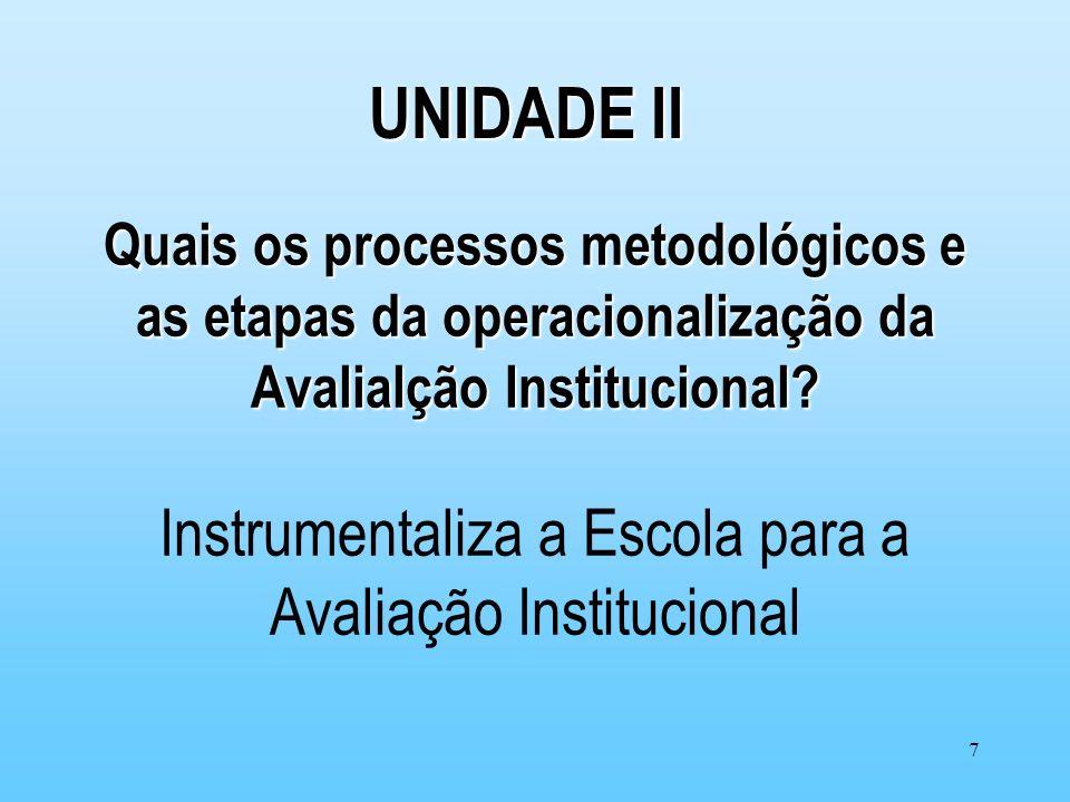 7 Quais os processos metodológicos e as etapas da operacionalização da Avalialção Institucional? Quais os processos metodológicos e as etapas da opera