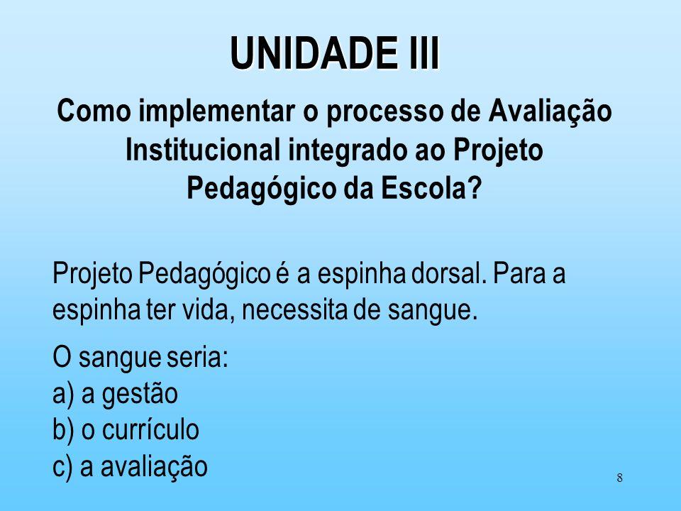 8 UNIDADE III UNIDADE III Como implementar o processo de Avaliação Institucional integrado ao Projeto Pedagógico da Escola? Projeto Pedagógico é a esp