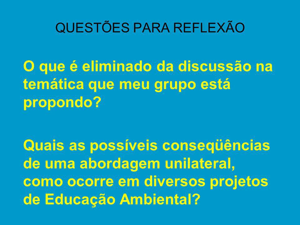 QUESTÕES PARA REFLEXÃO O que é eliminado da discussão na temática que meu grupo está propondo? Quais as possíveis conseqüências de uma abordagem unila