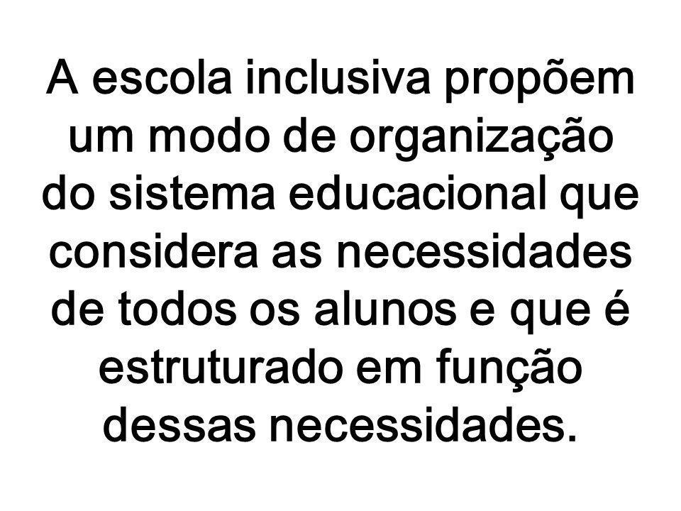 A escola inclusiva propõem um modo de organização do sistema educacional que considera as necessidades de todos os alunos e que é estruturado em funçã