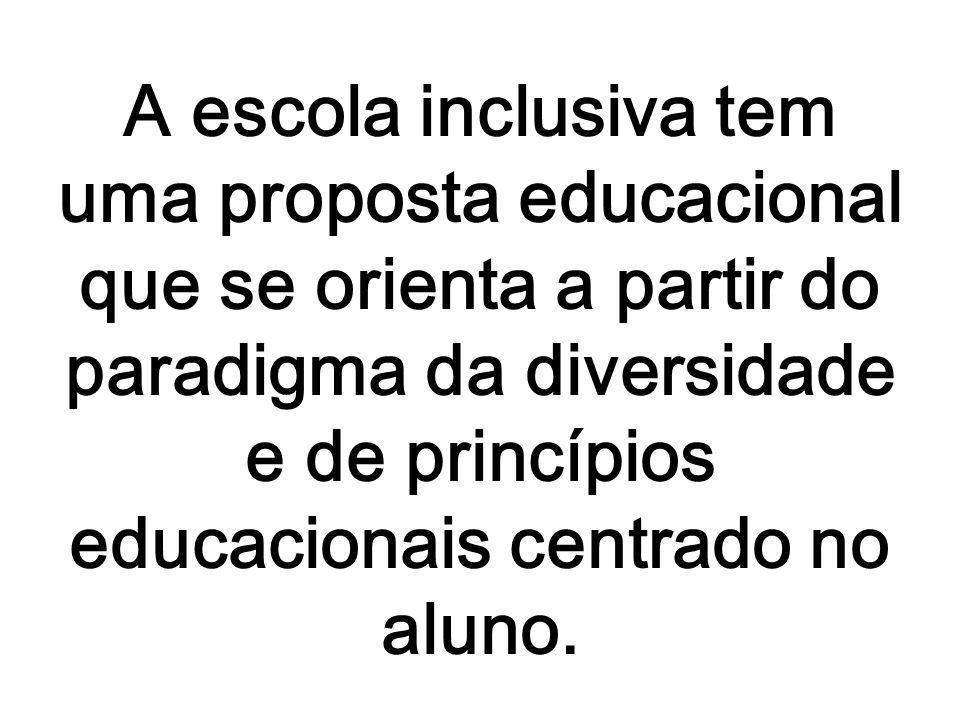 A escola inclusiva tem uma proposta educacional que se orienta a partir do paradigma da diversidade e de princípios educacionais centrado no aluno.