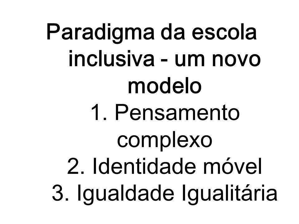 Paradigma da escola inclusiva - um novo modelo 1. Pensamento complexo 2. Identidade móvel 3. Igualdade Igualitária
