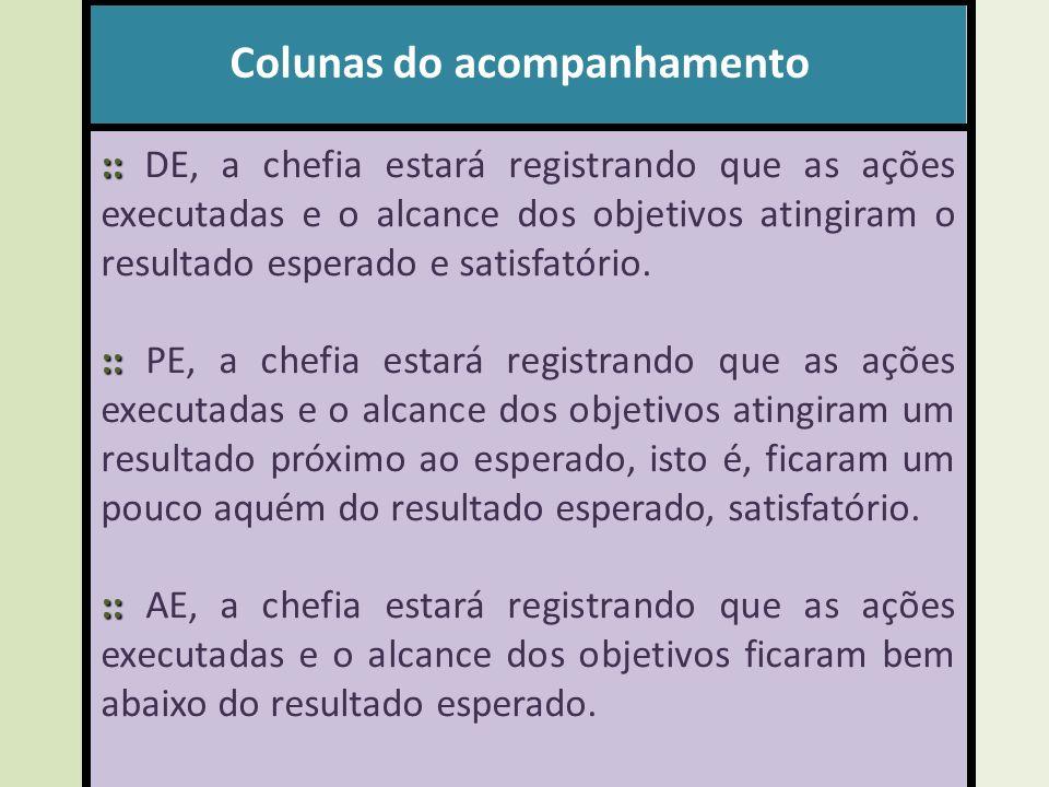 Colunas do acompanhamento :: :: DE, a chefia estará registrando que as ações executadas e o alcance dos objetivos atingiram o resultado esperado e satisfatório.