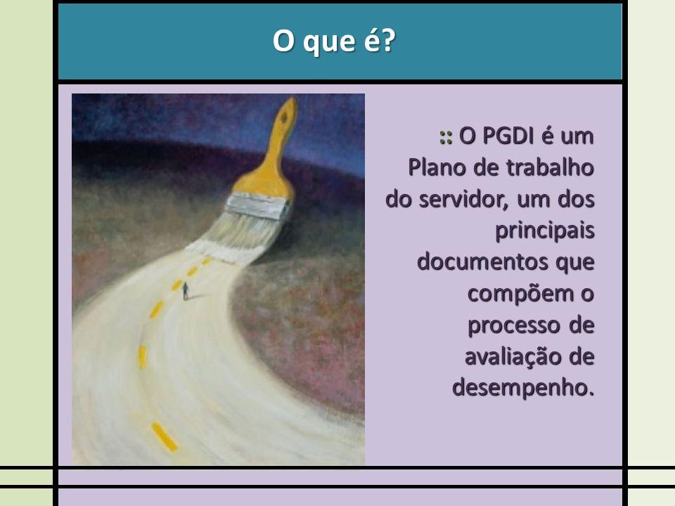 O que é? :: O PGDI é um Plano de trabalho do servidor, um dos principais documentos que compõem o processo de avaliação de desempenho.