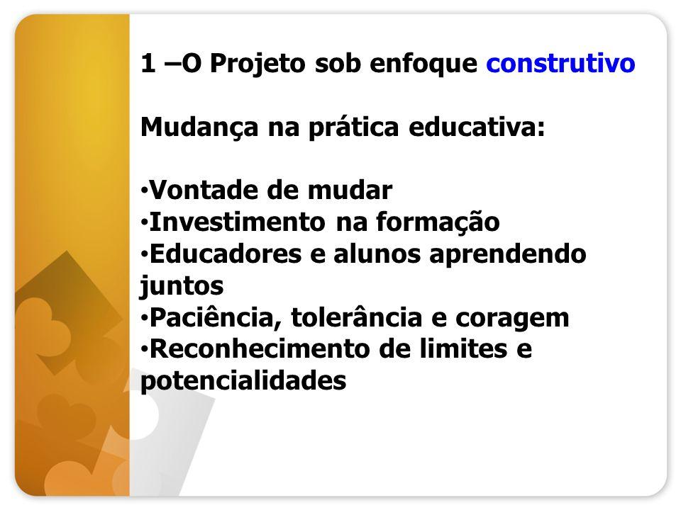 1 –O Projeto sob enfoque construtivo Mudança na prática educativa: Vontade de mudar Investimento na formação Educadores e alunos aprendendo juntos Pac