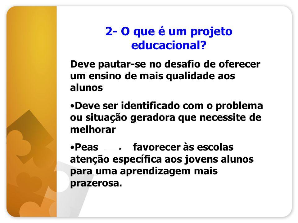2- O que é um projeto educacional? Deve pautar-se no desafio de oferecer um ensino de mais qualidade aos alunos Deve ser identificado com o problema o
