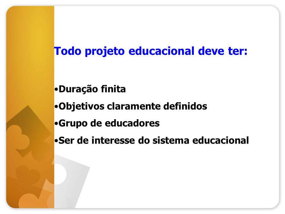 Todo projeto educacional deve ter: Duração finita Objetivos claramente definidos Grupo de educadores Ser de interesse do sistema educacional