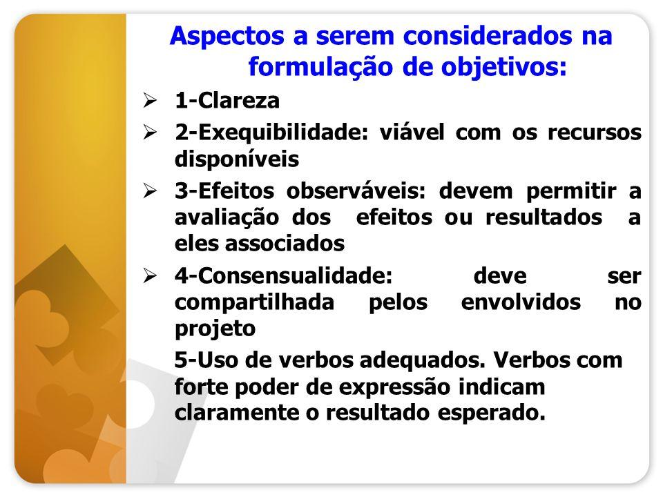 Aspectos a serem considerados na formulação de objetivos: 1-Clareza 2-Exequibilidade: viável com os recursos disponíveis 3-Efeitos observáveis: devem