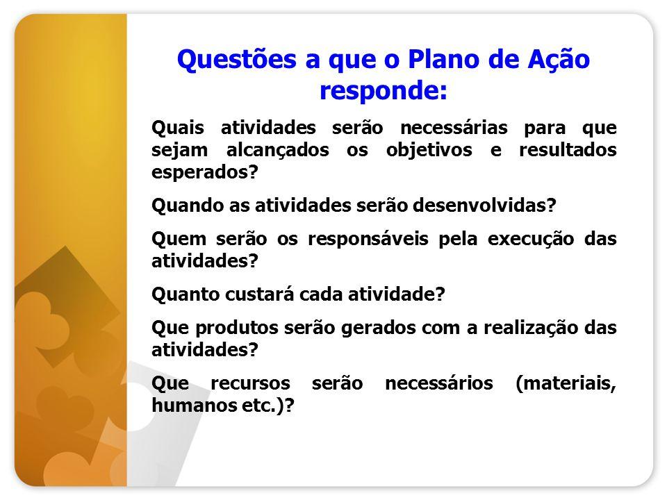 Questões a que o Plano de Ação responde: Quais atividades serão necessárias para que sejam alcançados os objetivos e resultados esperados? Quando as a