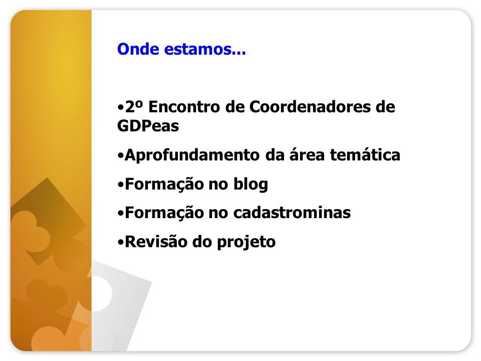 Onde estamos... 2º Encontro de Coordenadores de GDPeas Aprofundamento da área temática Formação no blog Formação no cadastrominas Revisão do projeto