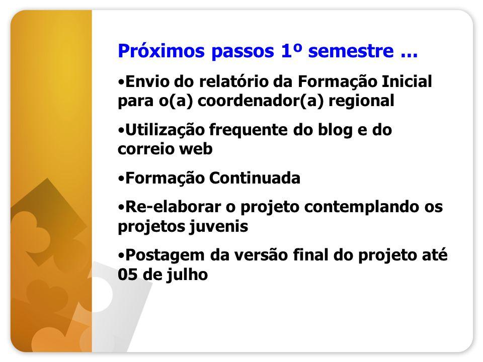 Próximos passos 1º semestre... Envio do relatório da Formação Inicial para o(a) coordenador(a) regional Utilização frequente do blog e do correio web