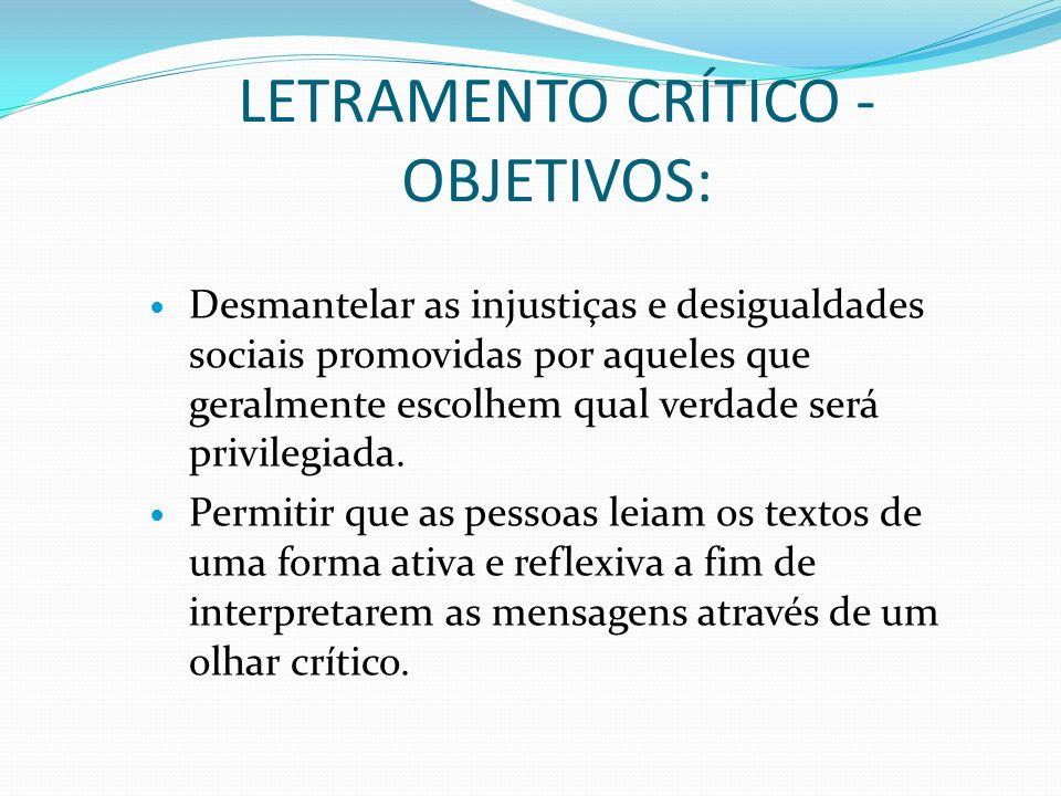 LETRAMENTO CRÍTICO – OBJETIVOS: Compreender as injustiças e desigualdades inseridas nas mensagens.