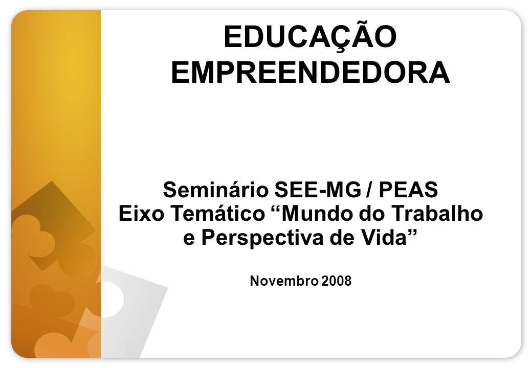 EDUCAÇÃO EMPREENDEDORA Seminário SEE-MG / PEAS Eixo Temático Mundo do Trabalho e Perspectiva de Vida Novembro 2008