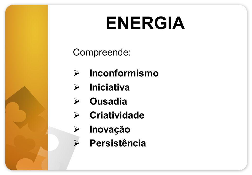 ENERGIA Compreende: Inconformismo Iniciativa Ousadia Criatividade Inovação Persistência
