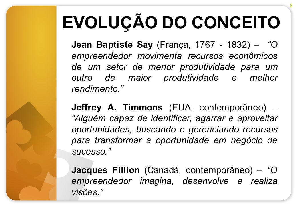 EVOLUÇÃO DO CONCEITO Jean Baptiste Say (França, 1767 - 1832) – O empreendedor movimenta recursos econômicos de um setor de menor produtividade para um