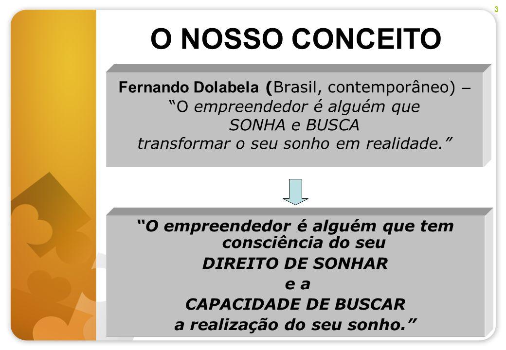 Fernando Dolabela (Brasil, contemporâneo) – O empreendedor é alguém que SONHA e BUSCA transformar o seu sonho em realidade. O NOSSO CONCEITO 3 O empre