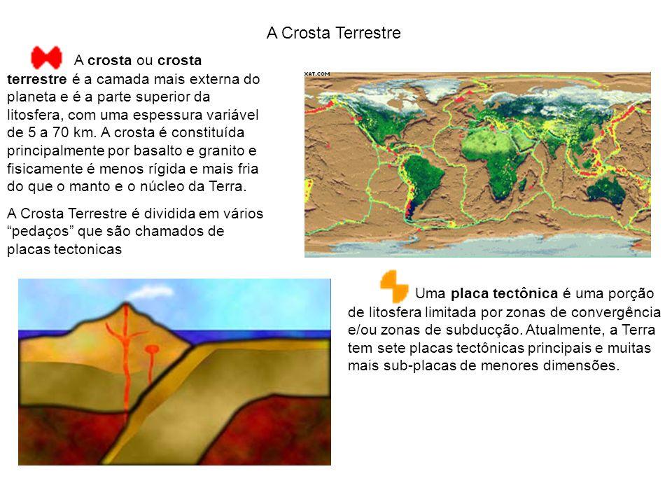 A Crosta Terrestre A crosta ou crosta terrestre é a camada mais externa do planeta e é a parte superior da litosfera, com uma espessura variável de 5 a 70 km.