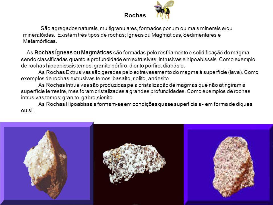 Rochas São agregados naturais, multigranulares, formados por um ou mais minerais e/ou mineralóides.