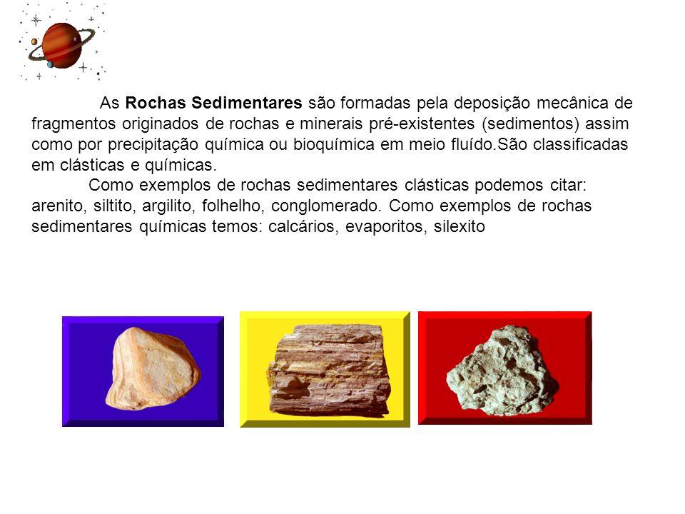 As Rochas Sedimentares são formadas pela deposição mecânica de fragmentos originados de rochas e minerais pré-existentes (sedimentos) assim como por precipitação química ou bioquímica em meio fluído.São classificadas em clásticas e químicas.