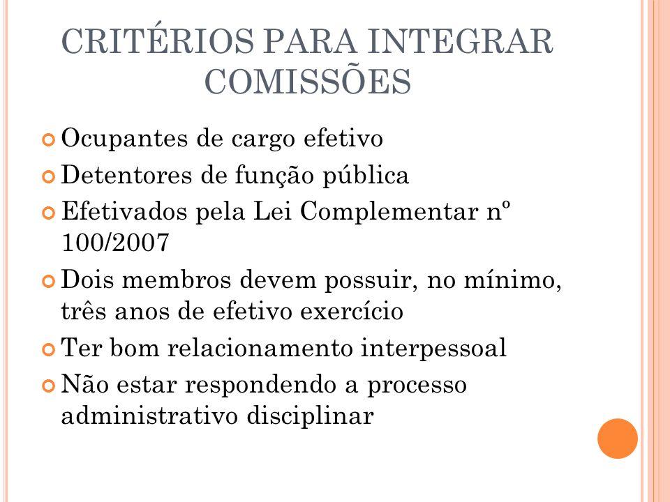 CRITÉRIOS PARA INTEGRAR COMISSÕES Ocupantes de cargo efetivo Detentores de função pública Efetivados pela Lei Complementar nº 100/2007 Dois membros de