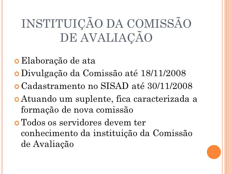 INSTITUIÇÃO DA COMISSÃO DE AVALIAÇÃO Elaboração de ata Divulgação da Comissão até 18/11/2008 Cadastramento no SISAD até 30/11/2008 Atuando um suplente