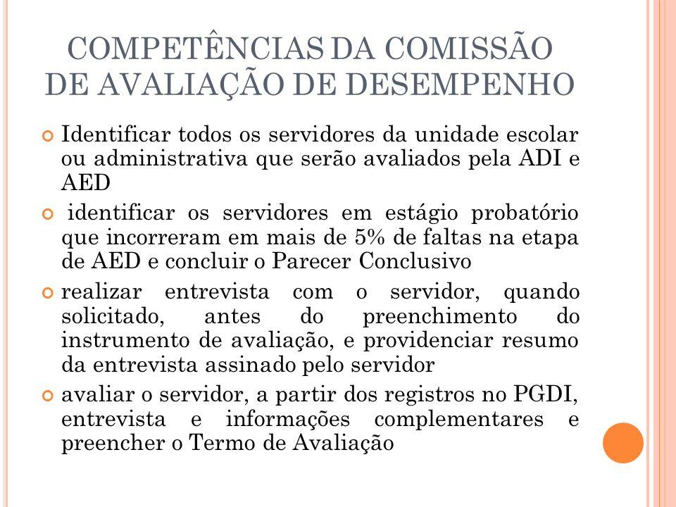 COMPETÊNCIAS DA COMISSÃO DE AVALIAÇÃO DE DESEMPENHO Identificar todos os servidores da unidade escolar ou administrativa que serão avaliados pela ADI