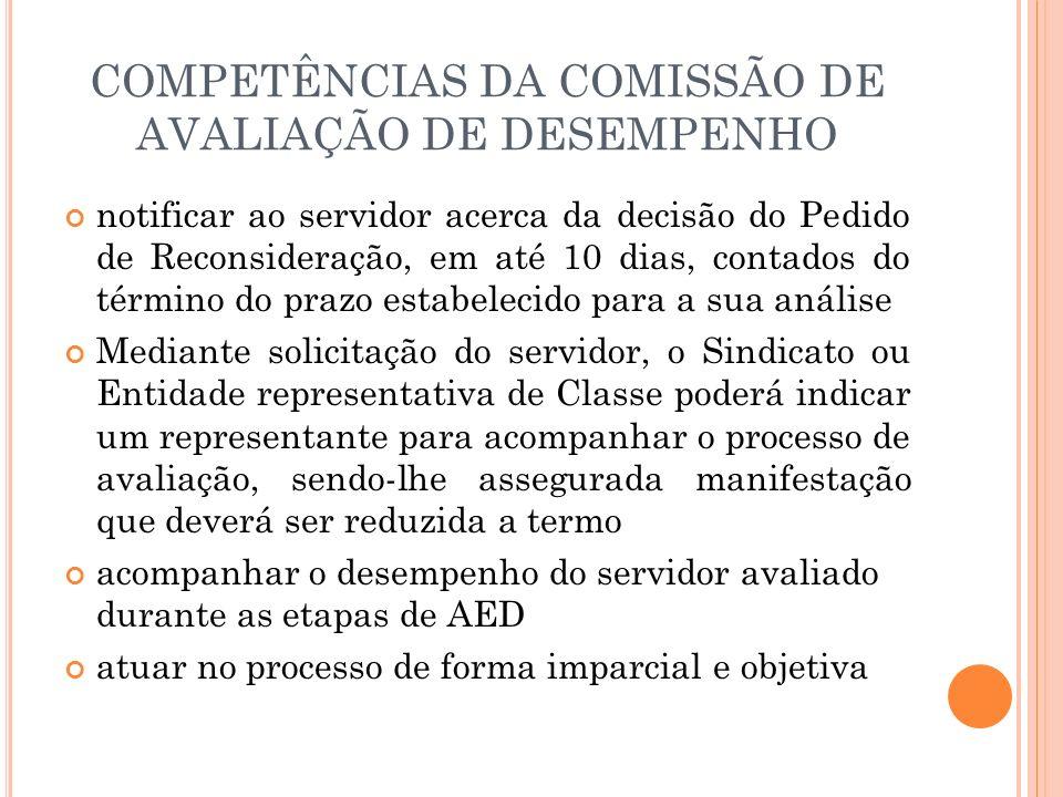 COMPETÊNCIAS DA COMISSÃO DE AVALIAÇÃO DE DESEMPENHO notificar ao servidor acerca da decisão do Pedido de Reconsideração, em até 10 dias, contados do t