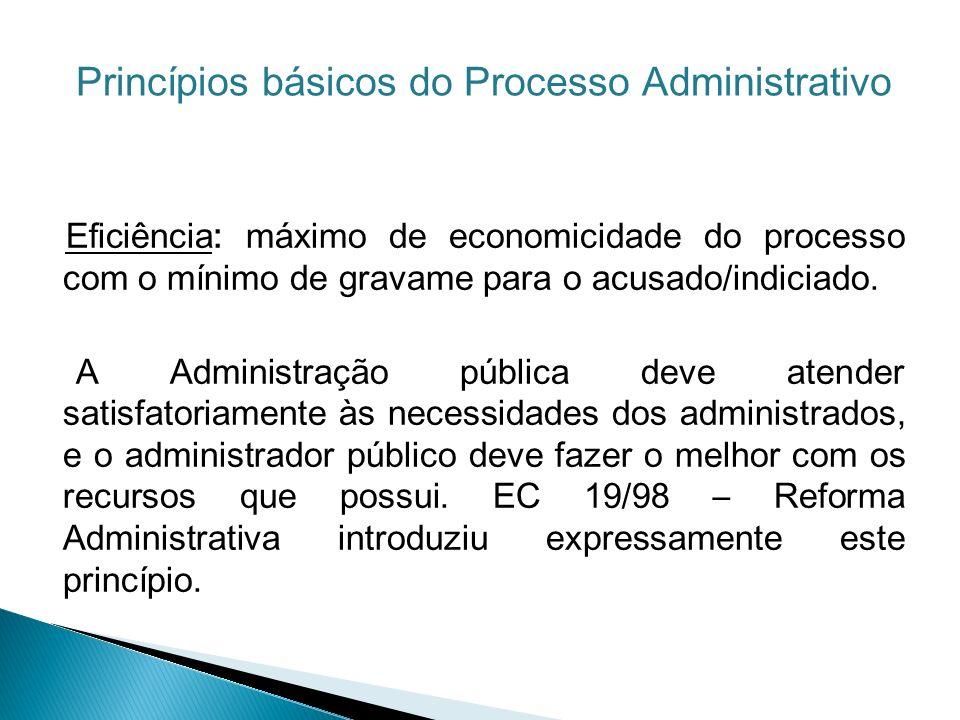 Eficiência: máximo de economicidade do processo com o mínimo de gravame para o acusado/indiciado. A Administração pública deve atender satisfatoriamen
