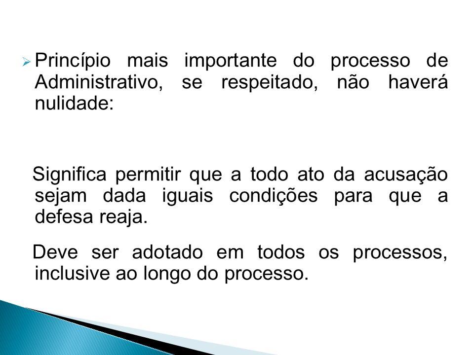Princípio mais importante do processo de Administrativo, se respeitado, não haverá nulidade: Significa permitir que a todo ato da acusação sejam dada