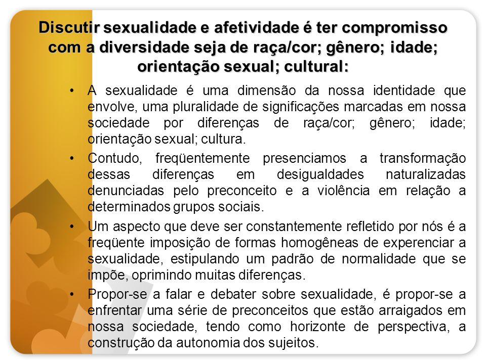 Discutir sexualidade e afetividade é ter compromisso com a diversidade seja de raça/cor; gênero; idade; orientação sexual; cultural: A sexualidade é u