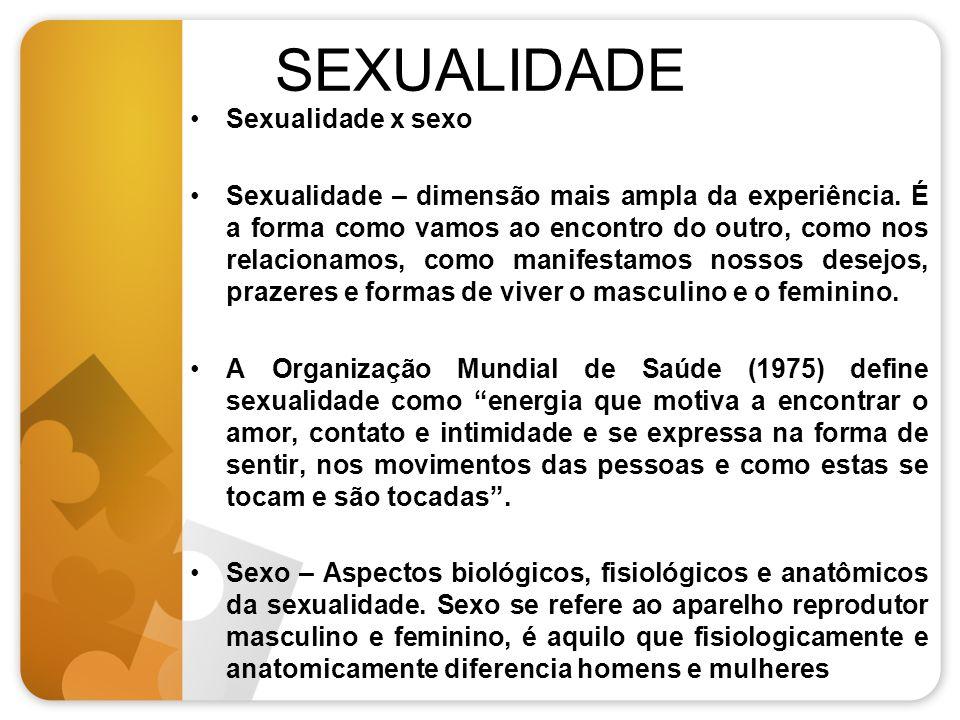SEXUALIDADE Sexualidade x sexo Sexualidade – dimensão mais ampla da experiência. É a forma como vamos ao encontro do outro, como nos relacionamos, com
