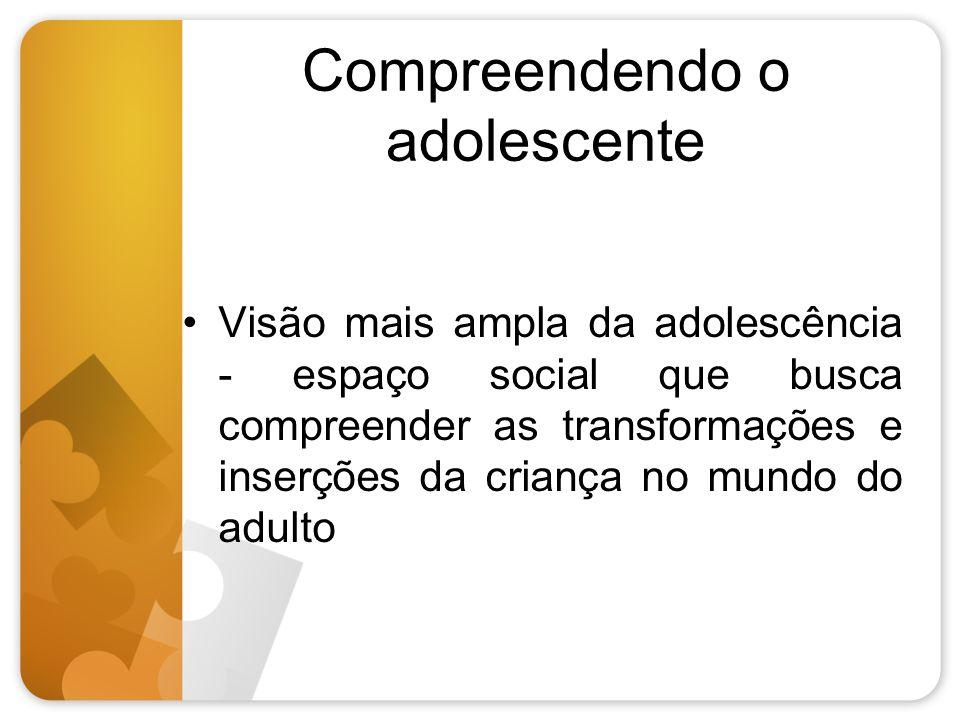 Compreendendo o adolescente Visão mais ampla da adolescência - espaço social que busca compreender as transformações e inserções da criança no mundo d