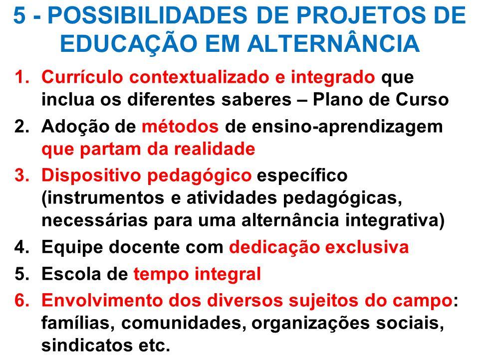 5 - POSSIBILIDADES DE PROJETOS DE EDUCAÇÃO EM ALTERNÂNCIA 1.Currículo contextualizado e integrado que inclua os diferentes saberes – Plano de Curso 2.