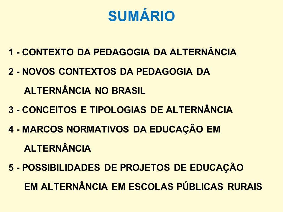 SUMÁRIO 1 - CONTEXTO DA PEDAGOGIA DA ALTERNÂNCIA 2 - NOVOS CONTEXTOS DA PEDAGOGIA DA ALTERNÂNCIA NO BRASIL 3 - CONCEITOS E TIPOLOGIAS DE ALTERNÂNCIA 4