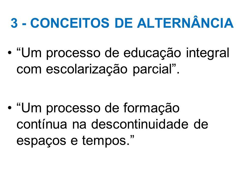 3 - CONCEITOS DE ALTERNÂNCIA Um processo de educação integral com escolarização parcial. Um processo de formação contínua na descontinuidade de espaço