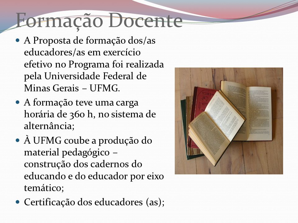 Formação Docente A Proposta de formação dos/as educadores/as em exercício efetivo no Programa foi realizada pela Universidade Federal de Minas Gerais